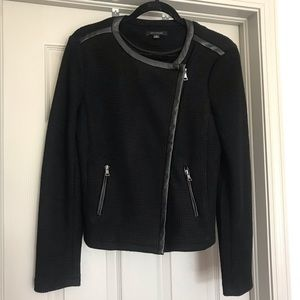 Knit and faux leather trim moto jacket